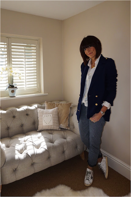 My Midlife Fashion, Uniqlo Ruffle High Collar Blouse, Zara Oversized blazer, baukjen relaxed fit hanbury trousers, golden goose superstar trainers, Harry Rocks entwined initials pendant