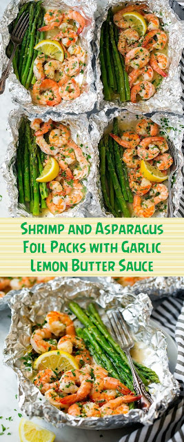Shrimp and Asparagus Foil Packs with Garlic Lemon Butter Sauce