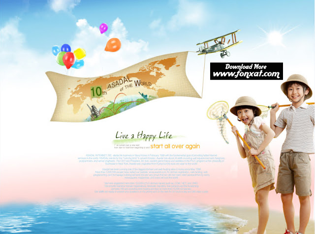 FREE PSD download : The design of a boy and girl on the beach