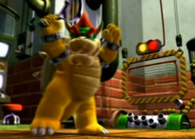 Mario Power Tennis opening cutscene introduction Bowser tennis racket arms raised power pose
