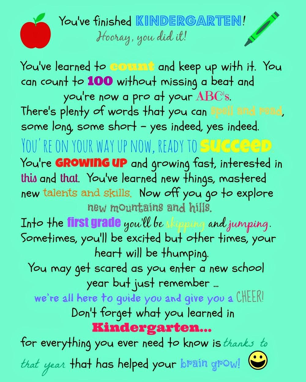 Brodys Kindergarten Poem Printable on Preschool Graduation Letter To Children