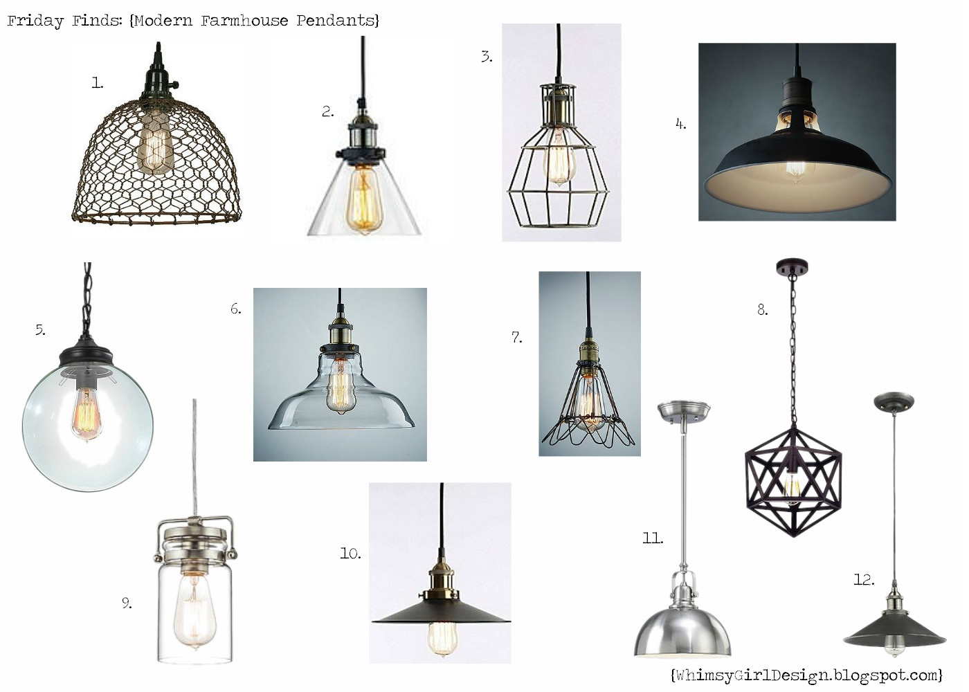 Whimsy Girl Friday Finds Modern Farmhouse Pendant Lights