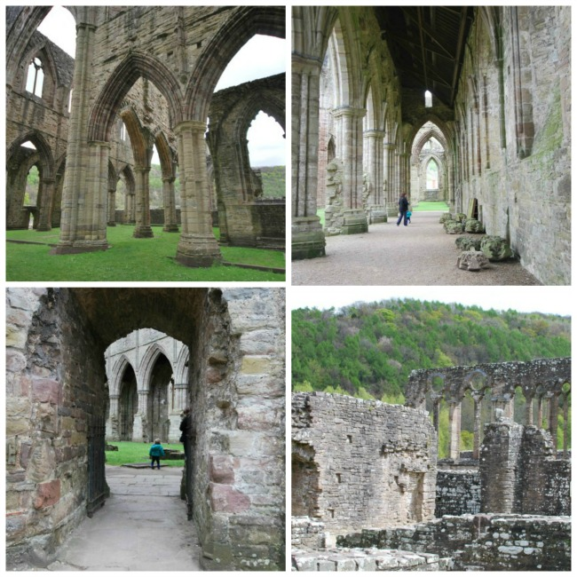 collage of Abbey ruins with toddler in some pictures