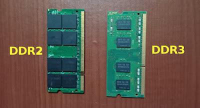 Perbedaan fisik DDR2 dan DDR3 cara menambah ram laptop