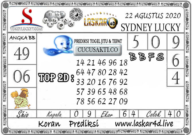 Prediksi Sydney Lucky Today LASKAR4D 22 AGUSTUS 2020