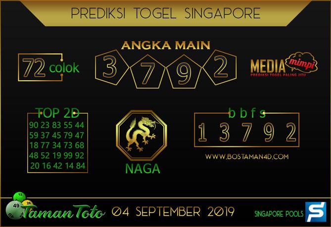 Prediksi Togel SINGAPORE TAMAN TOTO 04 SEPTEMBER 2019