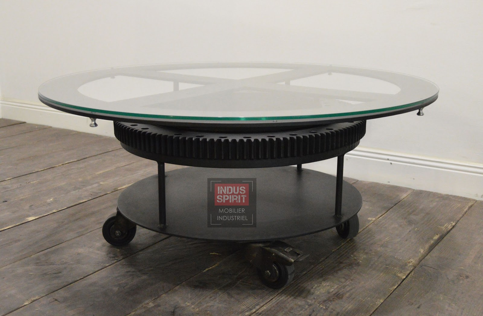 Table basse industrielle verre et m tal - Table basse verre et metal ...