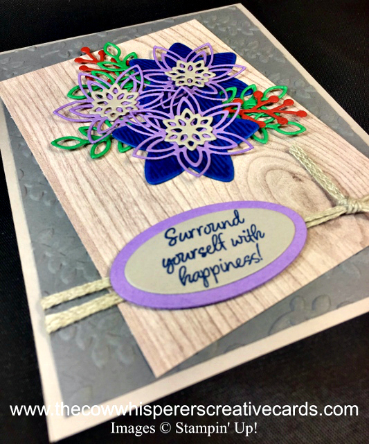 Card, Happiness Surrounds, Snowfall Thinlits Dies, Climbing Vine Embossing Folder