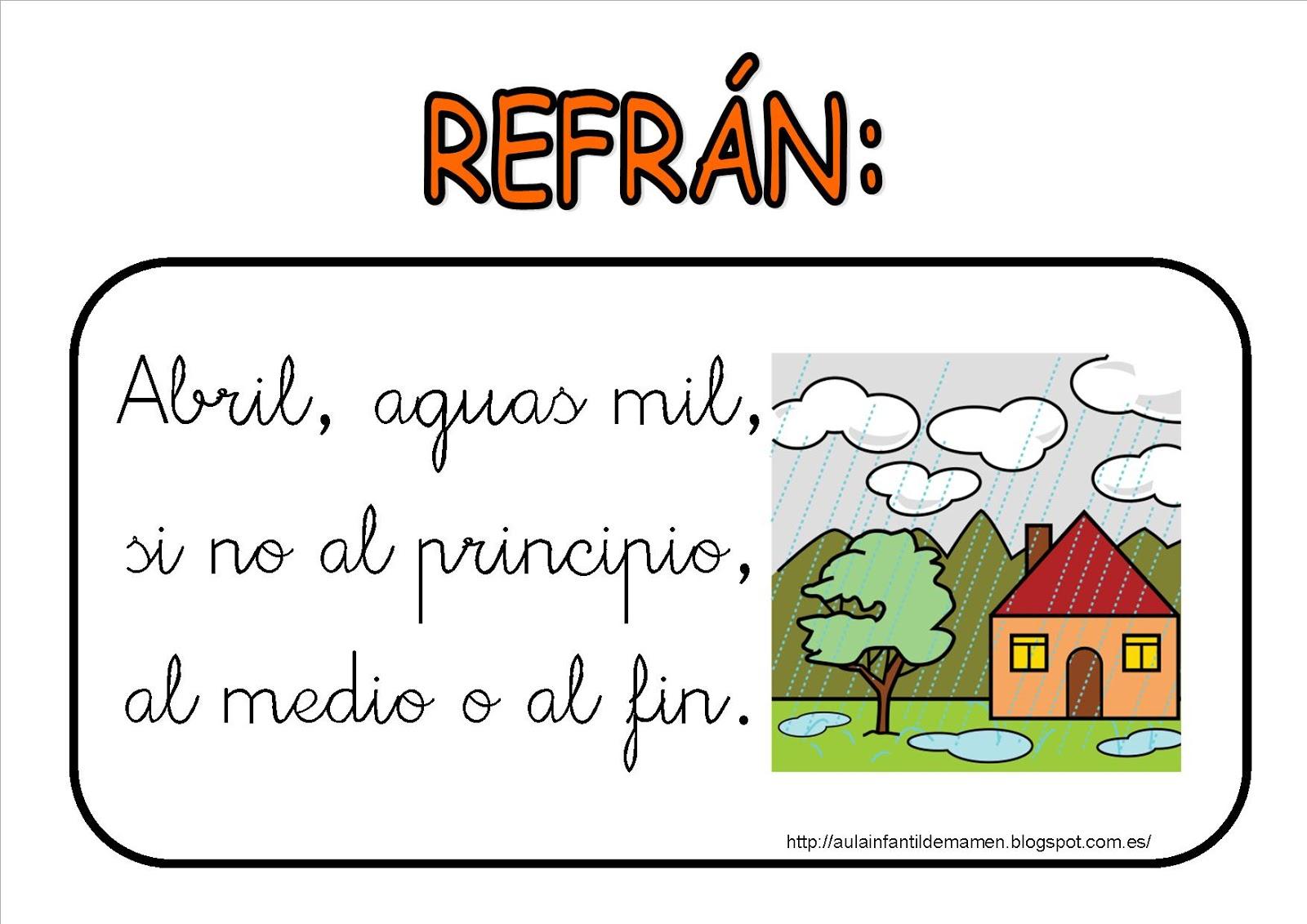 Aula de Infantil, 1º y 2º de Primaria de Viguera: REFRÁN DEL MES ...