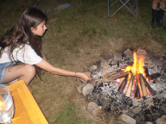 toasting marsh mallows over an open fire
