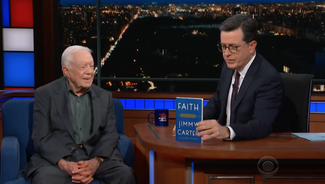Jimmy Carter tells Stephen Colbert that says he still prays for President Trump