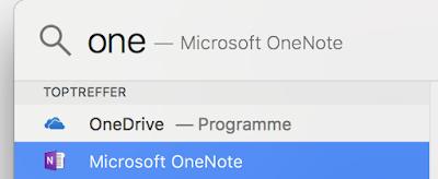 Spotlight-Suche nach OneDrive oder OneNote hier steht OneDrive über OneNote, die Markierung steht auf OneNote.