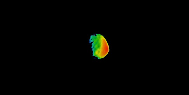 Temperature gradients: This image combines two products from the first pointing at the Martian moon Phobos by the THEMIS camera on NASA's Mars Odyssey orbiter on Sept. 29. Surface-temperature information from observation in thermal-infrared wavelengths is overlaid on a more detailed image from a visible-light observation. Image by NASA/JPL-Caltech/ASU