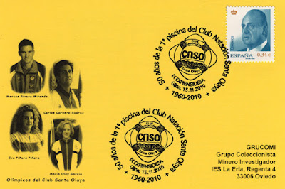 Tarjeta del matasellos del 50 aniversario de la primera piscina del Club Santa Olaya en La Calzada, Gijón