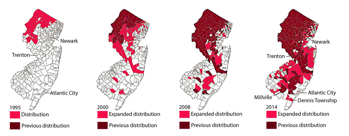 Black Bear Distribution in New Jersey (USA), 1995 - 2014