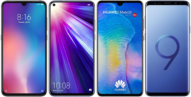 Xiaomi Mi 9 128G vs Honor View 20 128 GB vs Huawei Mate 20 vs Samsung Galaxy S9 Plus