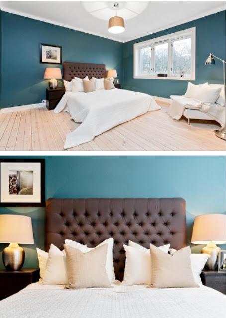 recamara estilo hotel, azul petroleo
