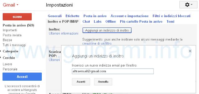 Gmail inoltrare email