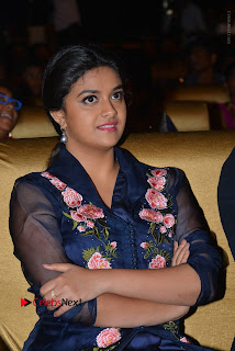 Actress Keerthi Suresh Stills in Blue Long Dress at Nenu Local Audio Launch  0020.JPG