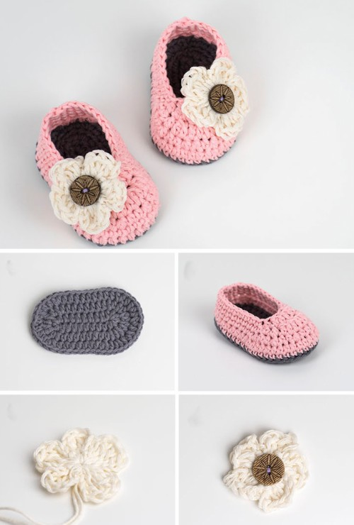 Crochet Baby Booties with Flower -  Free Pattern & Tutorial