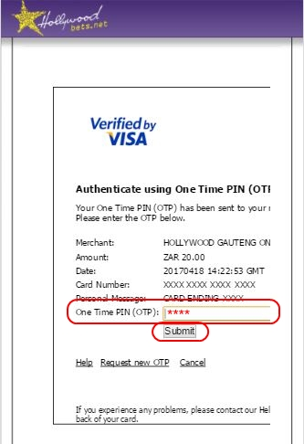 Enter OTP - Verified by Visa authorisation page - Hollywoodbets - Peach Payments Deposit Method