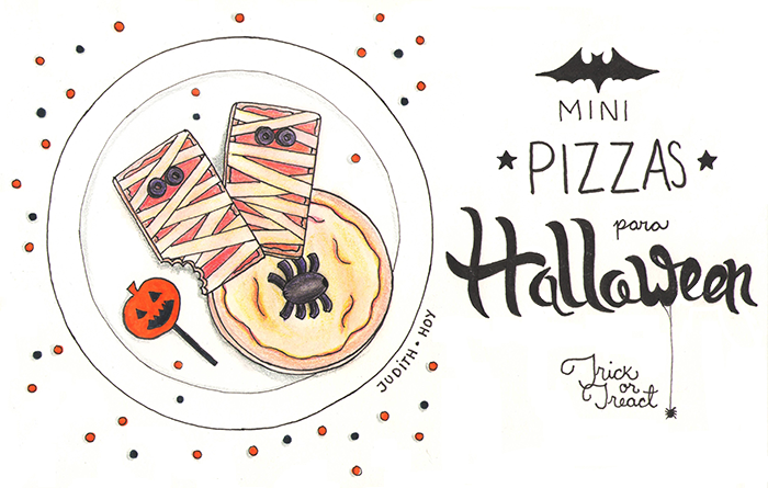 mini pizzas halloween