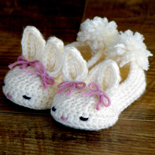 Happy Baby Bunny House Slippers - Crochet Pattern