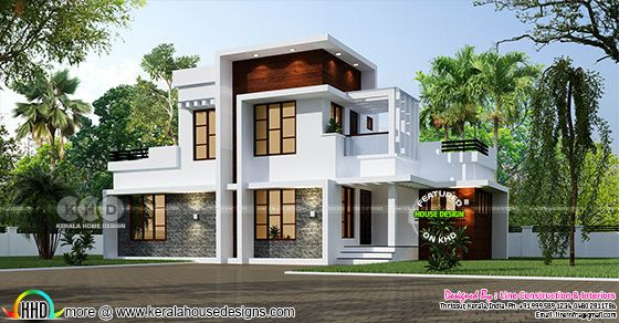 1385 square feet 3 bedroom modern box model house plan