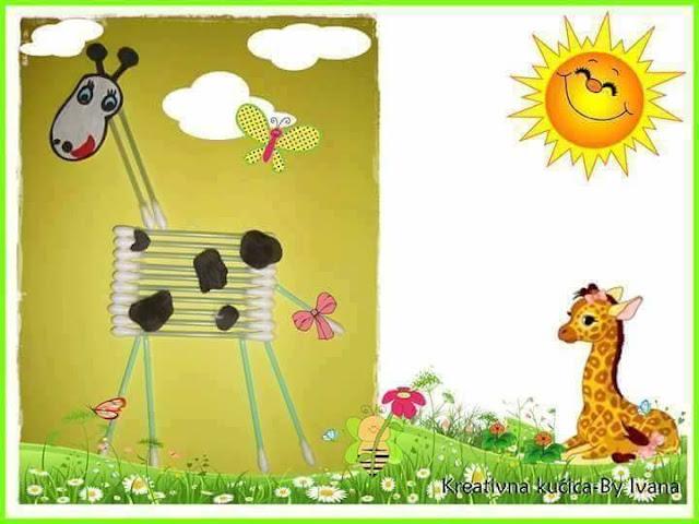 Ide membuat kreasi berbentuk jerapah menggunakan cottonbud untuk anak-anak