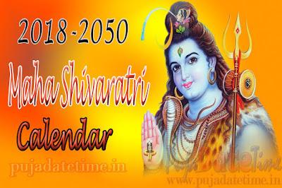 2018 - 2050 Maha Shiva Ratri Calendar