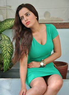 Meghana Patel sizzling green deep neck dress