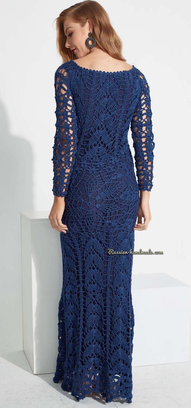 Схема вязания крючком длинного платья