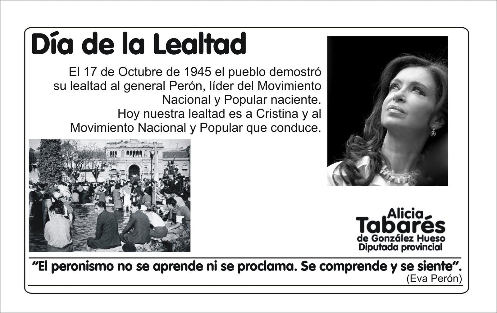 ¡Feliz día de la Lealtad Peronista! | Alicia Tabarés de González Hueso