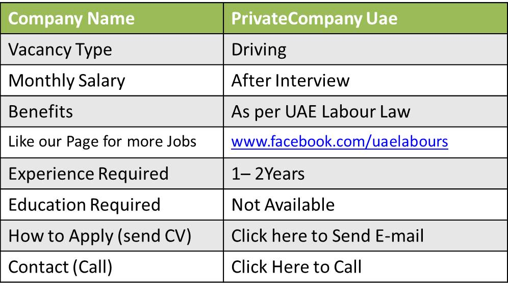 jobs in uae with driving license