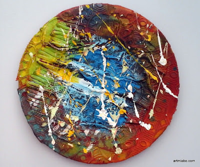 Mixed Media Abstract Art, on a plate by Miabo Enyadike