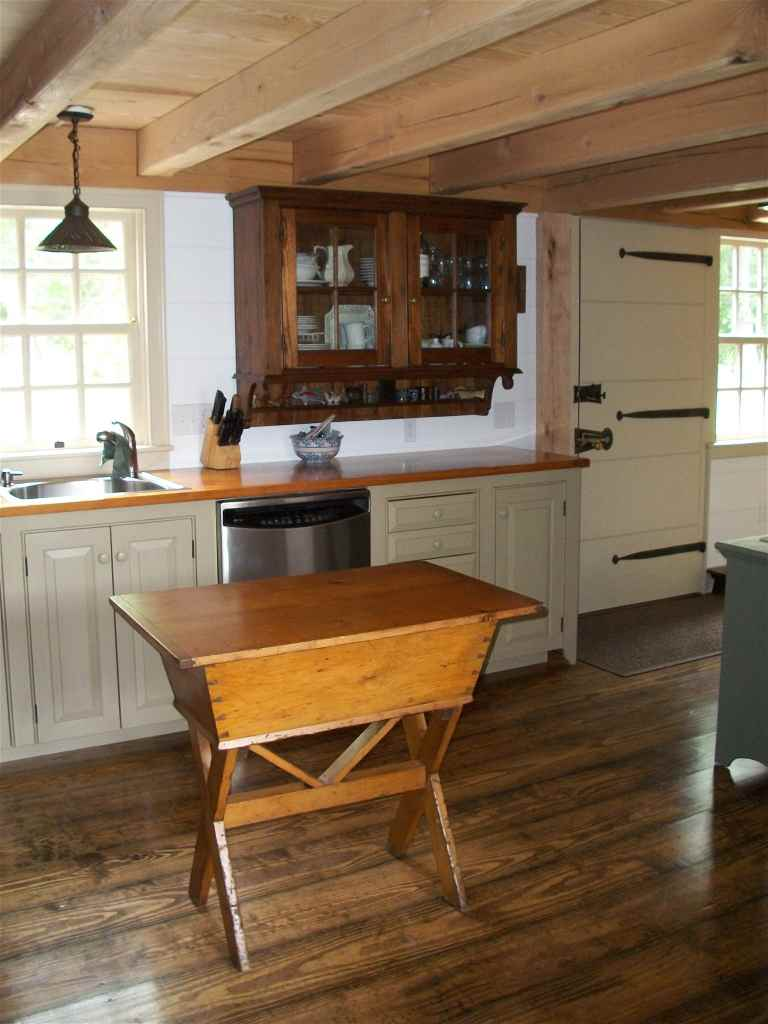 brick kitchen flooring historic house addition 1790