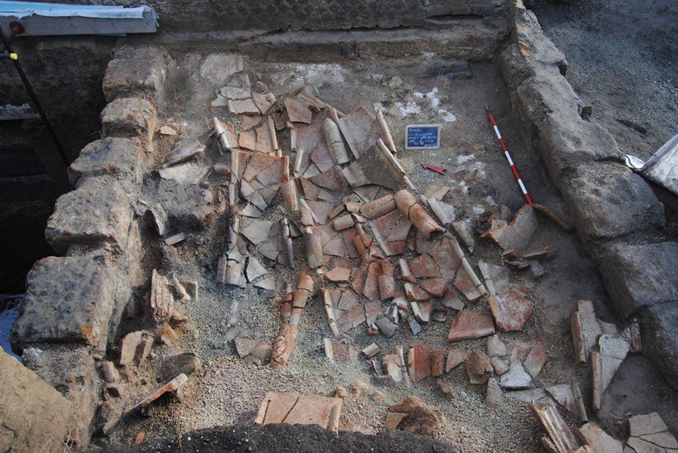 Derrumbe de tejado de tejas documentado en Civita Giuliana, Pompeya. Foto: Parco Archeologico di Pompei.