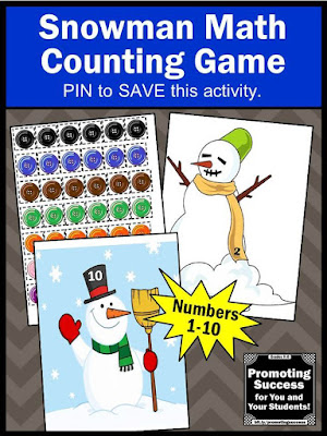 snowman math counting game for kids