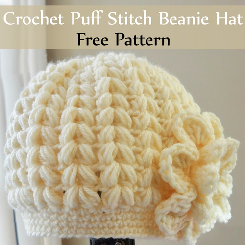 Crochet Puff Stitch Beanie Hat - Tutorial