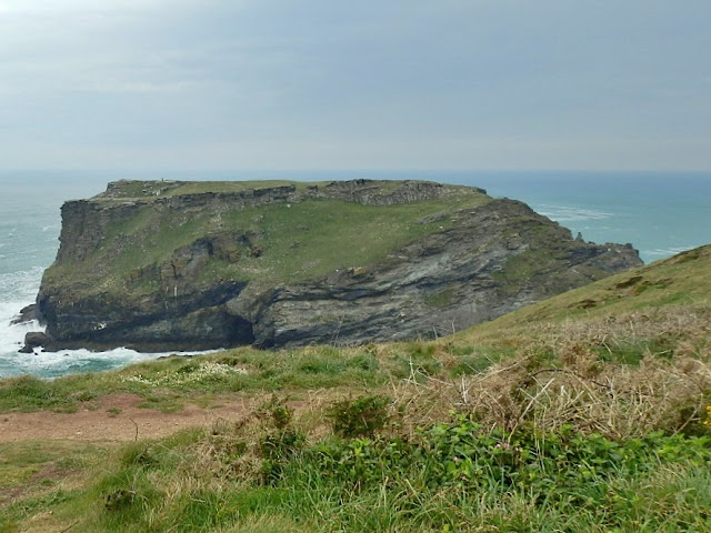The flat topped island on which Tintagel Castle sits