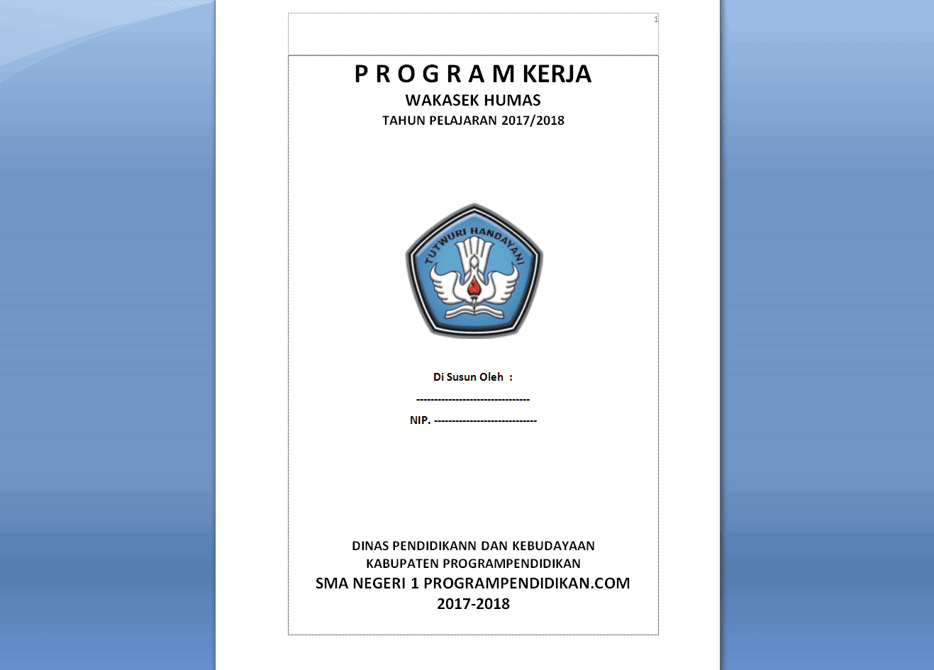 Contoh Program Kerja HUMAS SMA Tahun 2018