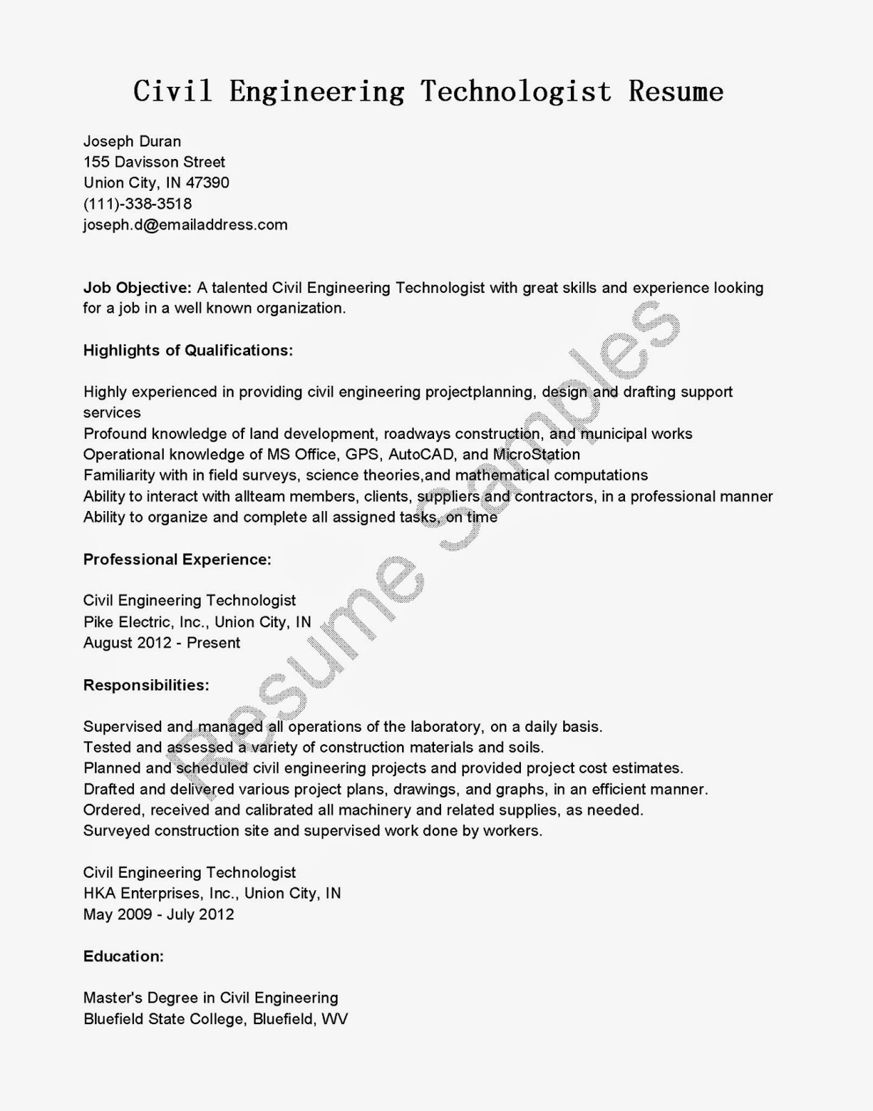 civil engineering technologist resume