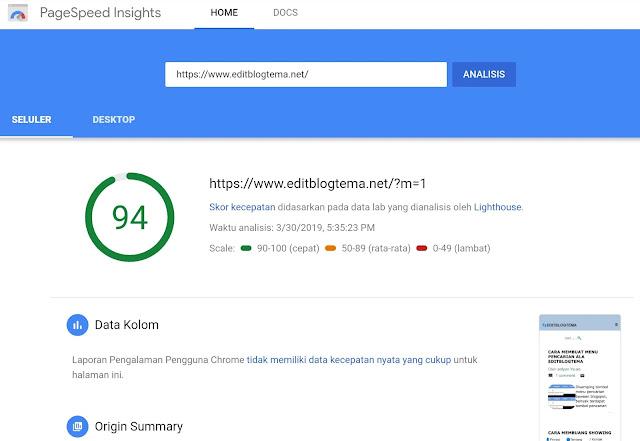setelah di uji melalui google PageSpeed