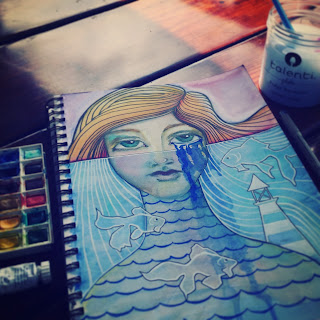 WIP Laurie Anne Smith Sikorowski Art Journal Page Salt Water