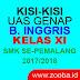 Kisi-Kisi UAS Genap Bahasa Inggris XI SMK 2017/2018