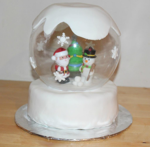 making a snow globe cake