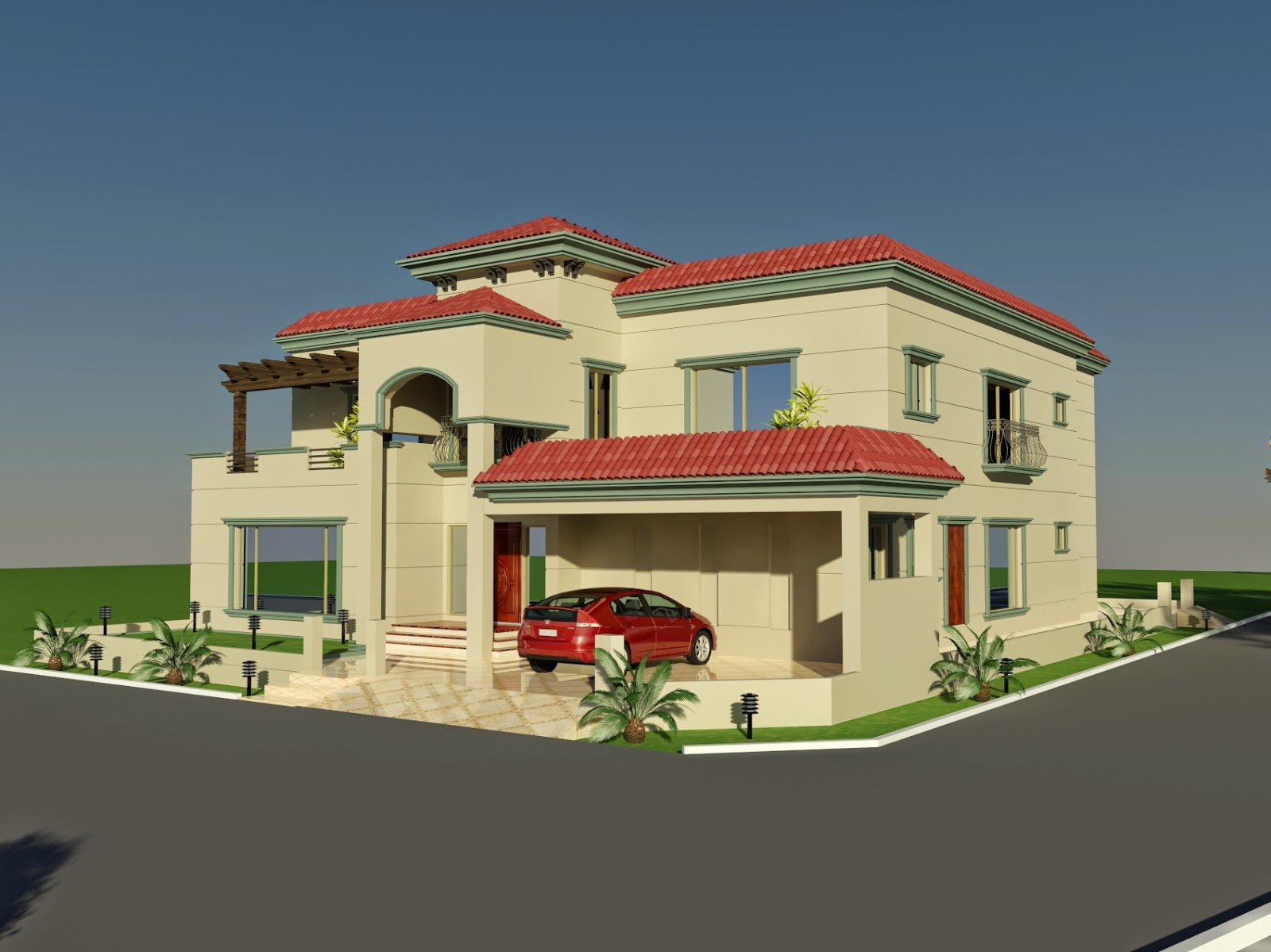 3d front elevation of house good decorating ideas. Black Bedroom Furniture Sets. Home Design Ideas
