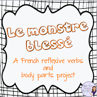 If you are teaching past tense reflexive verbs, this fun project is a must in your classroom!  Students will practice using a variety of reflexive verbs, review their body parts, and write creatively!  Check out this blog post on how to use it in your classroom!
