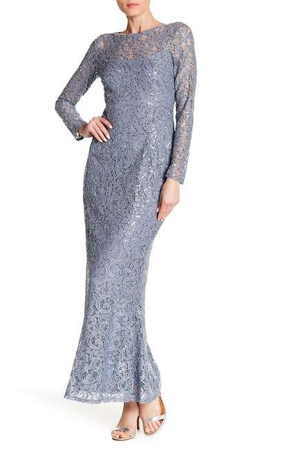 Marina Long Sleeve Lace Gown