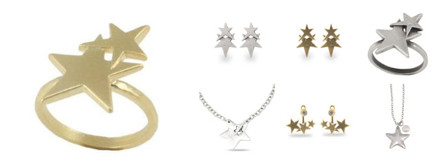 Danon jewellery star earrings, star ring, star necklace